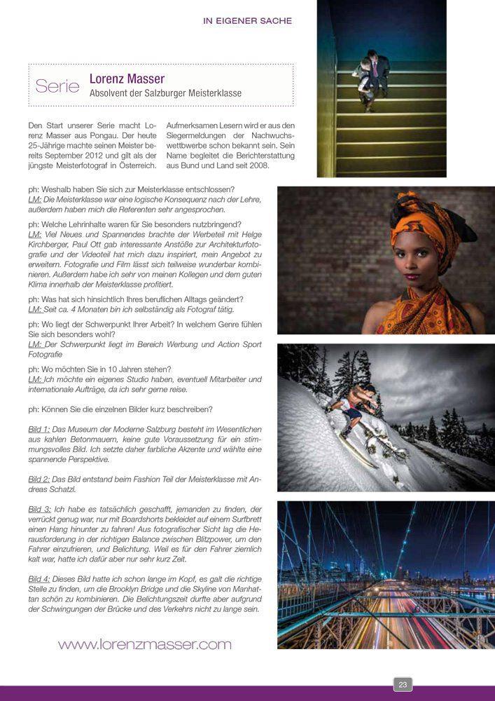 Zeitungsartikel, Interview mit der Photograph, Lorenz Masser Fotografie, Land Salzburg