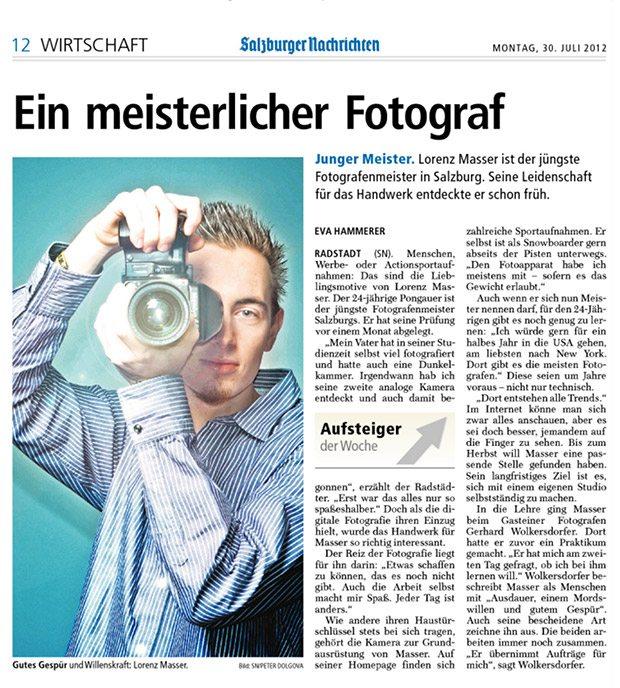 Salzburger Nachrichten, jüngster Meisterfotograf, Zeitungsartikel, Lorenz Masser, Fotograf