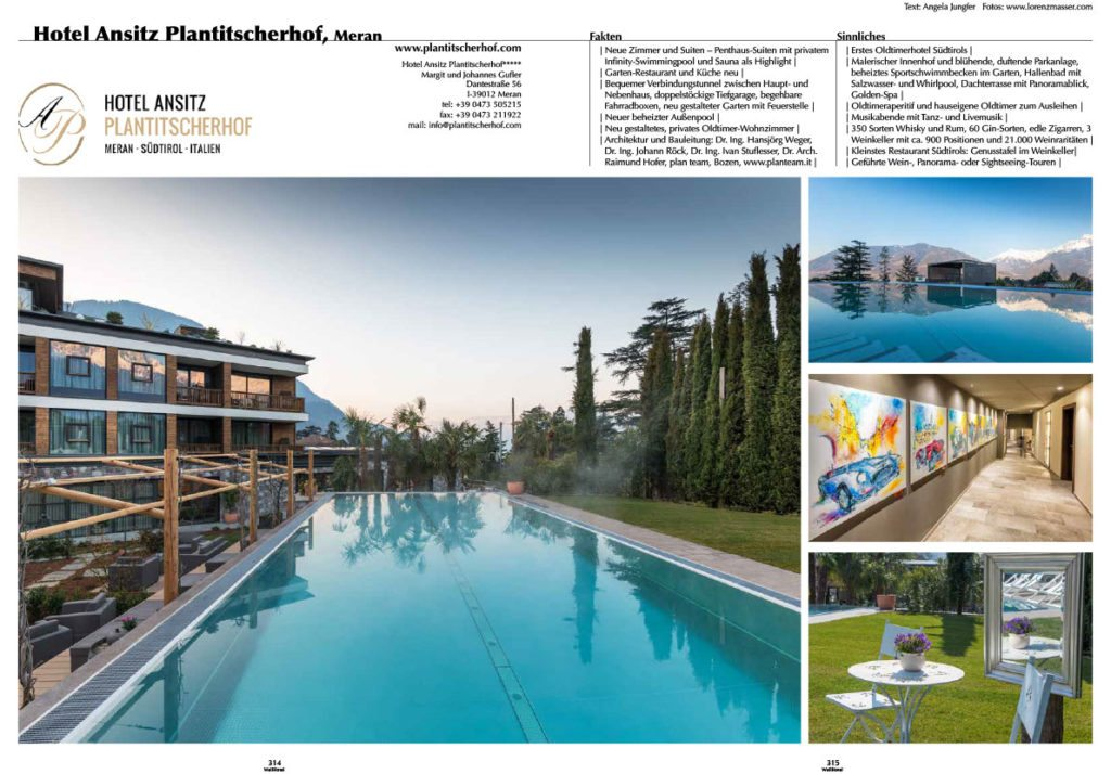 Artikel über Wiedereröffnung des Planitscherhof Meran, Werbefotograf, Künstlerhotel