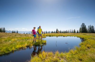 Wanderer am Rossbrand, Tourismusverband Radstadt, Rossbrand, blauer Himmel